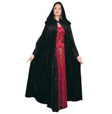 BLACK PANNE VELVET HOODED CLOAK ADULT HALLOWEEN COSTUME ACCESSORY - NEW!!!