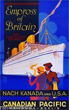Canadia Pacific Empress of Britain Vintage Canadian Travel Advertisement Poster