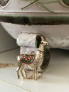 AVON Golden Gold Llama Alpaca Rhinestone Necklace Christmas Gift Present