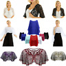Womens Sheer Shawl Wrap Wedding Capes Shrug Jacket Cardigan Blouse Top Beachwear
