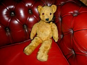VINTAGE ? 1940'S BALDING FULLY JOINTED TEDDY BEAR WITH HUMP 18 INCHES