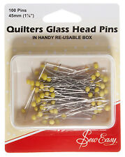 Sew-easy quilters Vidrio Cabeza Pins 45mm 100 Alfileres-er308