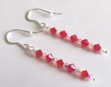 """Sterling Silver and Swarovski Crystal 35mm Drop Earrings Light Siam """"RED"""""""