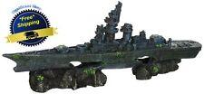 Fish Tank Aquarium Decoration Sunken Ship Boat Rock Ornament Wreck Warship Cave