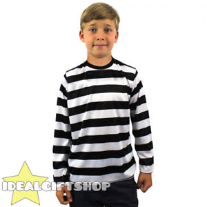 CHILDS STRIPED T SHIRT TOP BLACK AND WHITE FANCY DRESS LONG SLEEVE 100% COTTON