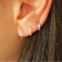 3 Pairs Women Fashion Simple Retro Circle Small Hoop Earrings Set Punk Jewelry