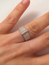 Tiffany & Co Silver Diamond Mesh Somerset Band Ring. Size 6 RRP $1300