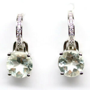 NATURAL 8mm. ROUND WHITE TOPAZ & WHITE CZ EARRINGS 925 SILVER STERLING