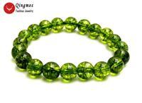 "Trendy 10mm Green Round Natural Peridot Bracelet for Women Jewelry 7.5"" bra461"