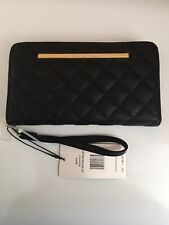Steve Madden Wallet Diamond BLACK Quilted Gold Zip Around Wrist let Ships Free