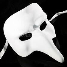 Blank White Masquerade Mask - Plague Doctor Cosplay Costume Party DIY Mask