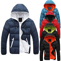 Men Winter Hooded Thick Padded Jacket Zipper Slim Outwear Warm Outwear Coat US