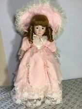 Porcelain Girl Doll 45cm Tall Brown Eyes Golden Red Hair As New Condition
