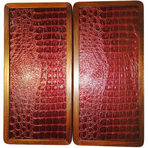 """16"""" Red Crocodile Skin Backgammon Set Board Game Wood, Leather, Pieces, Dices"""