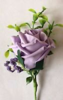 Wedding Flowers  12 X Lilac Rose & Lilac Gyp Buttonhole's MADE TO ORDER £15.00
