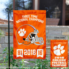 Clemson 3 Time National Champions Garden Flag and Yard Banner