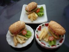 Set of 3 Sandwich on Plate Dollhouse Miniatures Food Supply Deco