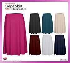 New Ladies Women Plain Pull On Six Panel Crepe Midi Skirt Plus Sizes 12-22
