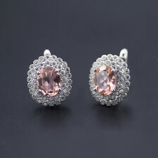 Elegant nano pink morganite 925 sterling silver stud earrings for women wedding