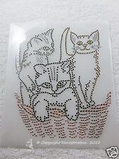 Hotfix Strass Glas Bügelbild  3 süße Kätzchen im Korb Katze 121016 Kaostonebox