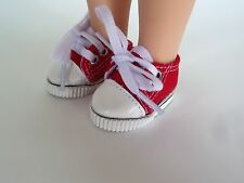 """Red Canvas Sneakers Fits American Girl 14.5"""" Wellie Wisher Doll Clothes Shoes"""