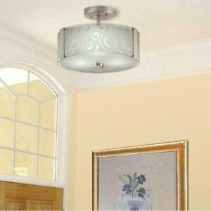 Portfolio 13.2-in Nickel Modern/Contemporary Semi-flush Mount Light