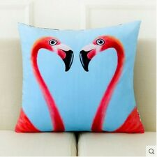 Tropical Style Hot Pink, Blue and White Watercolour Twin Flamingos Print Cushion