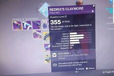 Destiny 2 REDRIX'S CLAYMORE Recovery (Guaranteed Weapon) - [PS4]
