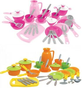 Children's Kids Play Kitchen Cooking Plates Cutlery Toy Tea Set 38pcs