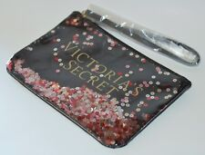 VICTORIA'S SECRET BLACK SEQUIN CLIP ON MINI BAG MAKEUP COSMETIC PENCIL POUCH