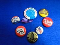 JOB LOT EARLY TIN BADGES, AMERICAN PRESIDENTIAL ELECTION CANDIDATES + OTHERS