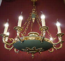 LARGE EMPIRE CHANDELIER GOLD BRONZE GREEN CEILING LAMP FIXTURE
