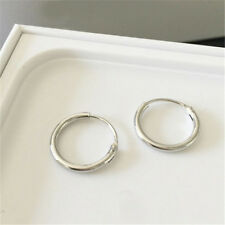 Silver Plated Small Endless Hoop Ear Stud Earrings Round Jewelry 12mm
