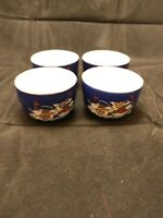 Vintage Asian Oriental Cobalt Blue Gold Peacock Tea Sake Cups