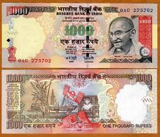 India, 1000 Rupees, 2006, P-100a, First Date, UNC > Gandhi