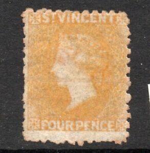 St VINCENT 1869 4d YELLOW  *** UNUSED *** EXTREMELY SCARCE cat. £350