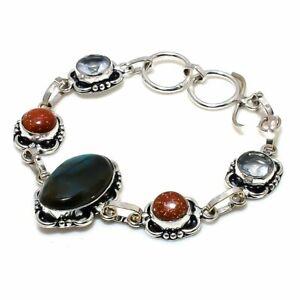 "Labradorite, Goldstone Gemstone Handmade 925 Sterling Silver Bracelet 7-8"" F261"