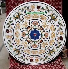 36'' White Marble Table Top Coffee Center Room Decor Inlay handmade Malachite