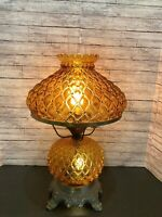 """Vintage HEDCO ? 3 Way Amber Quilted GWTW Glass Parlor Hurricane Table Lamp 19"""""""