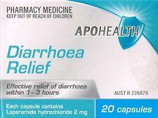 3X APOHEALTH DIARRHEA / DIARRHOEA 20 CAPSULES 60 TOTAL, IMODIUM