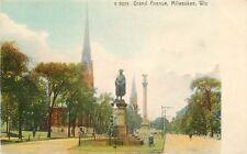 Undivided Back Postcard WI Grand Avenue Milwaukee Washington Statue Germany F571