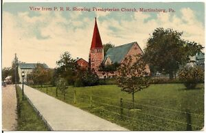 View From P.R.R. Showing Presbyterian Church in Martinsburg PA Postcard 1918
