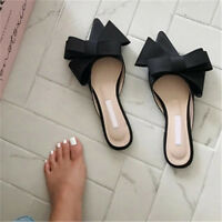 Women Bow Pointy Toe Low Block Heels Satin Sandals Slippers Party Shoes Mules uk