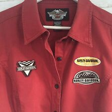 Vintage Harley Davidson Women Plus Shirt Red Button Front Short Sleeve Sz1W