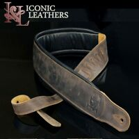 "Iconic 3.25"" Wide Dual Padded Leather Lightly Distressed Brown Guitar Bass Strap"