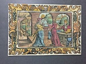 Antique 16th century german engraving, handcoloured, monogramed CS, 1562