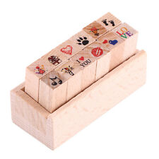 12pcs/set Wood Rubber Stamp Set for Kids DIY Crafts Card Scrapbooking Diary Gift