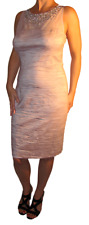 Eliza J Metallic Beaded Illusion Bodice Sheath Dress Rose Size 14