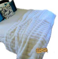 White Mink Throw Blanket Channel Mink Bedspread Minky Cuddle Faux Fur Accents