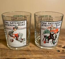Norman Rockwell The Saturday Evening Post Glasses Tumblers Set of 2